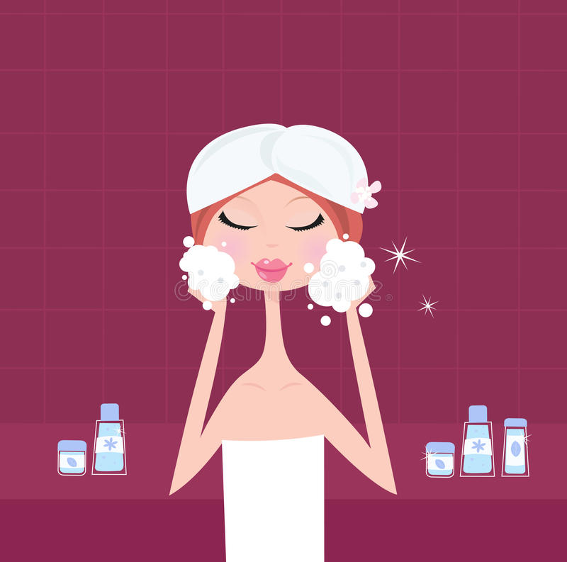 Facial care - facial mask peeling mask. Young woman applying facial peeling mask on her face. Beauty treatment and relaxation. Vector Illustration vector illustration
