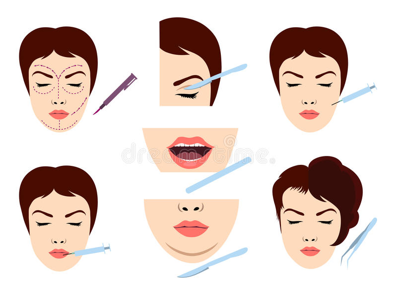Facial cosmetic surgery icons. Facial cosmetic surgery vector icons. Female face microsurgery stock illustration