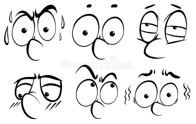 Facial expression doodle in black outline. Illustration vector illustration