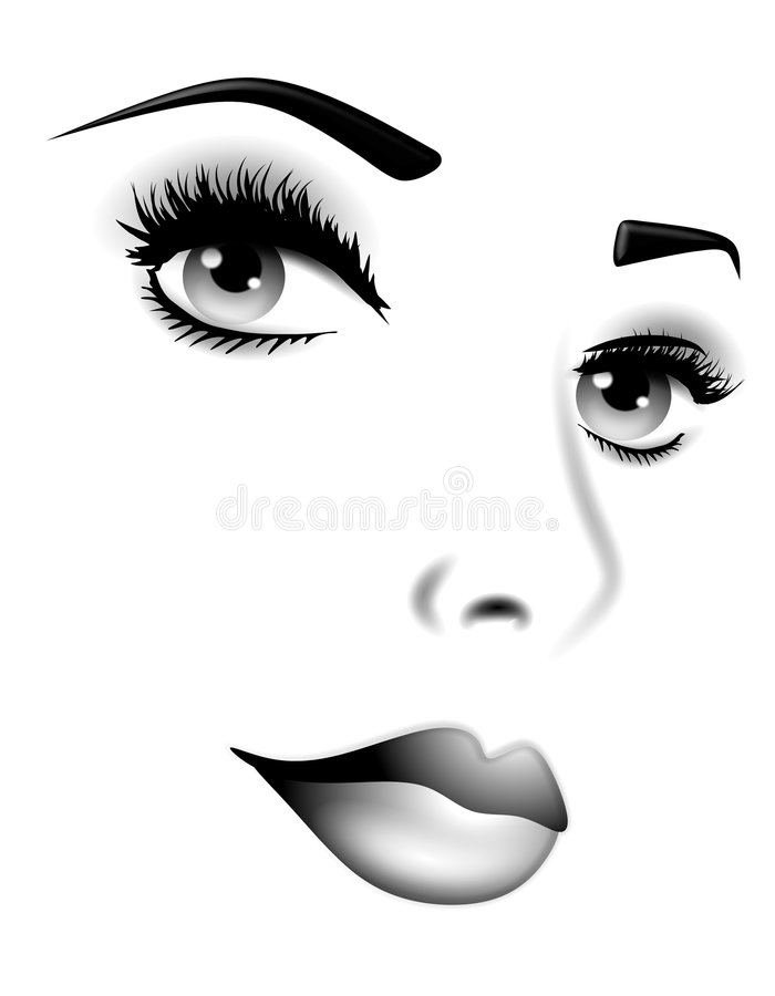 Facial Features of Woman Black White royalty free illustration