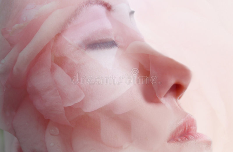 Facial Flower Mask Therapy royalty free stock images