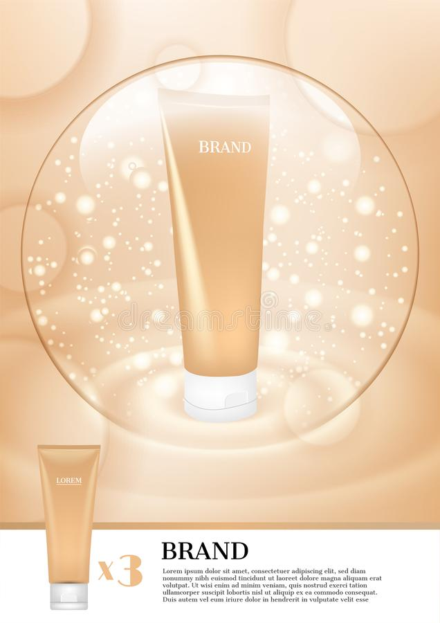Facial foam with light bubble and glitter on concentric ground.  vector illustration