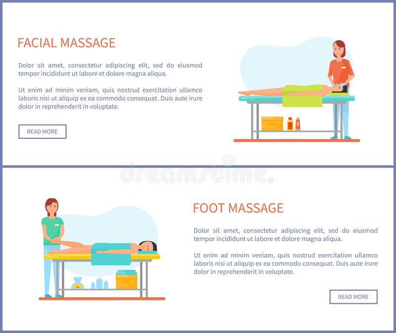 Facial and Foot Massage Session Cartoon Banner Set. Facial and foot massage session cartoon vector banner set. Standing masseur in uniform and rubber gloves and vector illustration