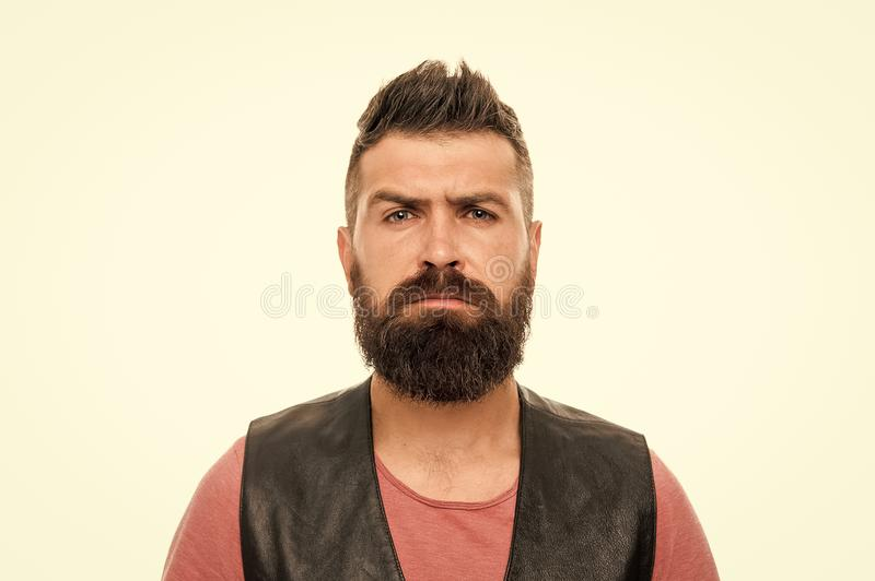 Facial hair treatment. Masculinity brutality and beauty. Hipster with beard brutal guy. Masculinity concept. Barber shop. And beard grooming. Styling beard and stock photo