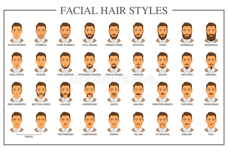 Facial hair types stock vector. Ilration of male - 13