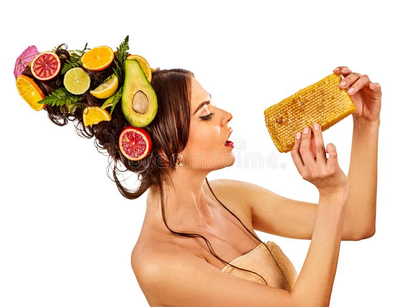 Facial honey mask for woman lips. Honeycombs homemade organic threatment. stock images