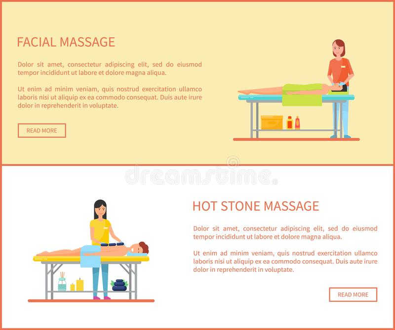 Facial and Hot Stone Massage Cartoon Vector Banner. Facial and hot stone massage session cartoon vector banner. Masseur in uniform and rubber gloves massaging royalty free illustration