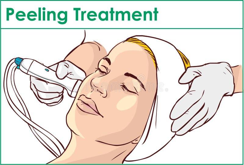Facial Hydro Microdermabrasion Peeling Treatment vector illustration