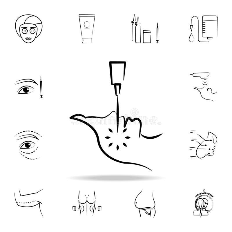 Facial laser surgery icon. Detailed set of anti-aging procedure icons. Premium graphic design. One of the collection icons for. Websites, web design, mobile app royalty free illustration