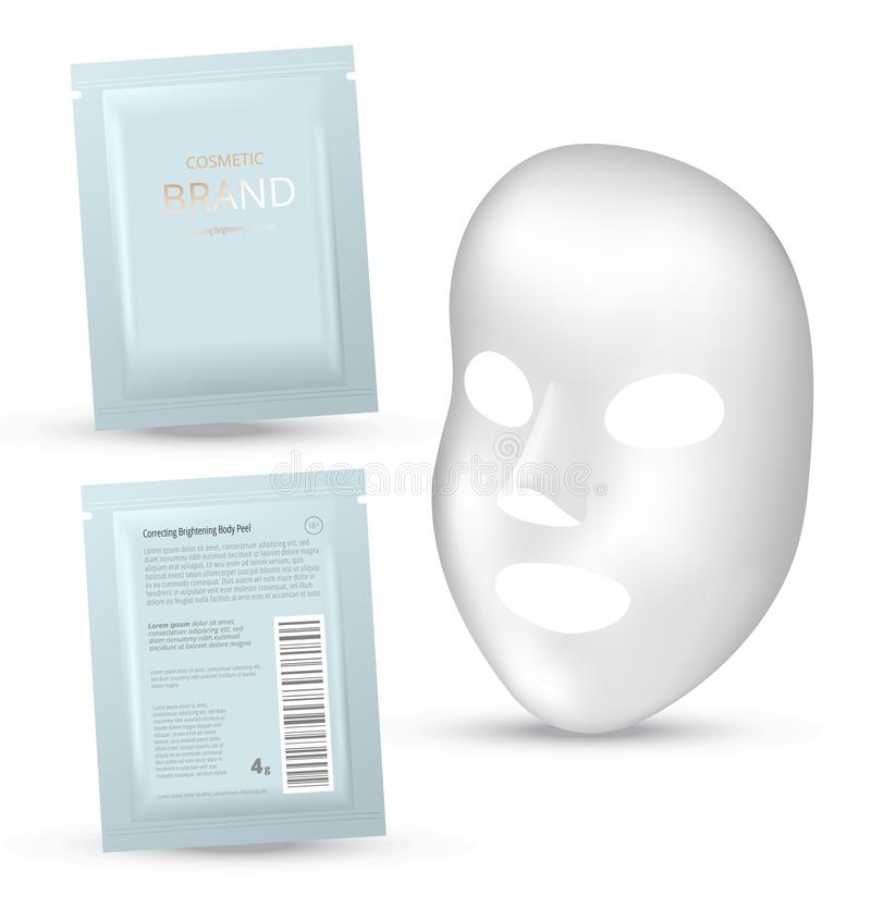 Facial Mask Cosmetics Packaging. Package design for face mask on white background. Cosmetics sachet. Realistic vector illustration stock illustration