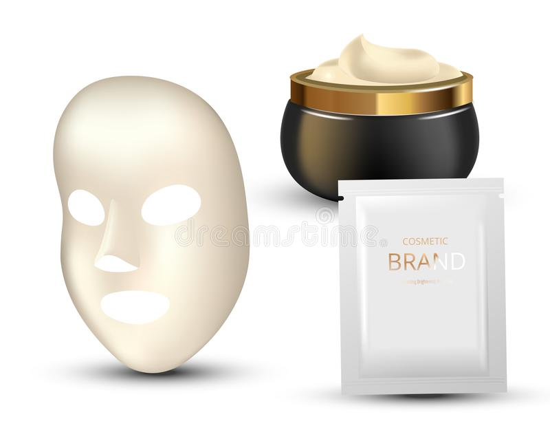 Facial Mask Cosmetics Packaging. Package design for face mask on white background. Cosmetics sachet and jar with creme. Realistic vector illustration vector illustration