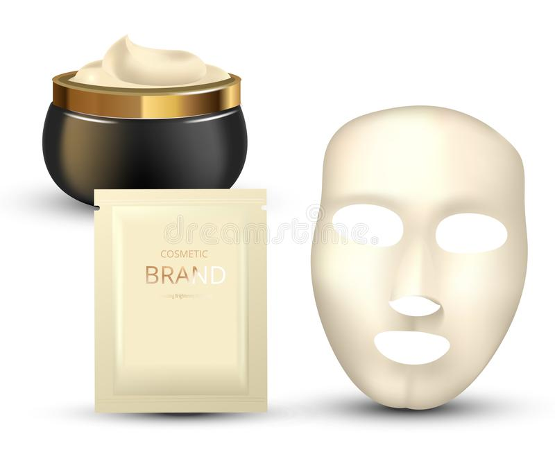 Facial Mask Cosmetics Packaging. Package design for face mask on white background. Cosmetics sachet and jar with creme. Realistic vector illustration stock illustration