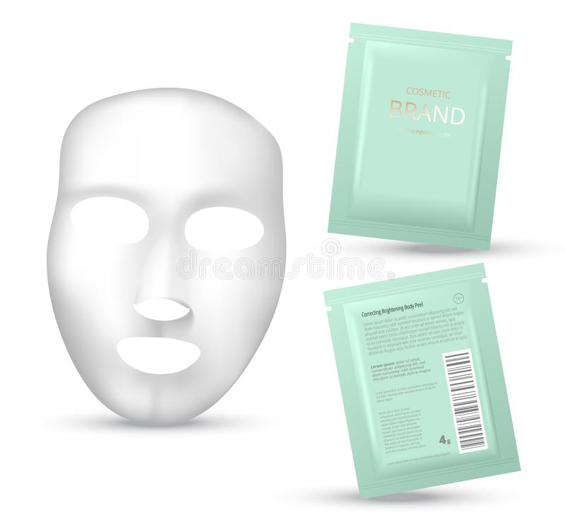 Facial Mask Cosmetics Packaging. Package design for face mask on white background. Cosmetics sachet. Realistic vector illustration royalty free illustration