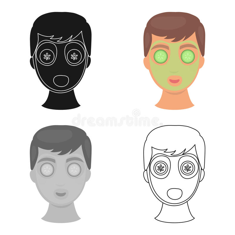 Facial mask icon in cartoon style isolated on white background. Skin care symbol stock vector illustration. Facial mask icon in cartoon style isolated on white stock illustration
