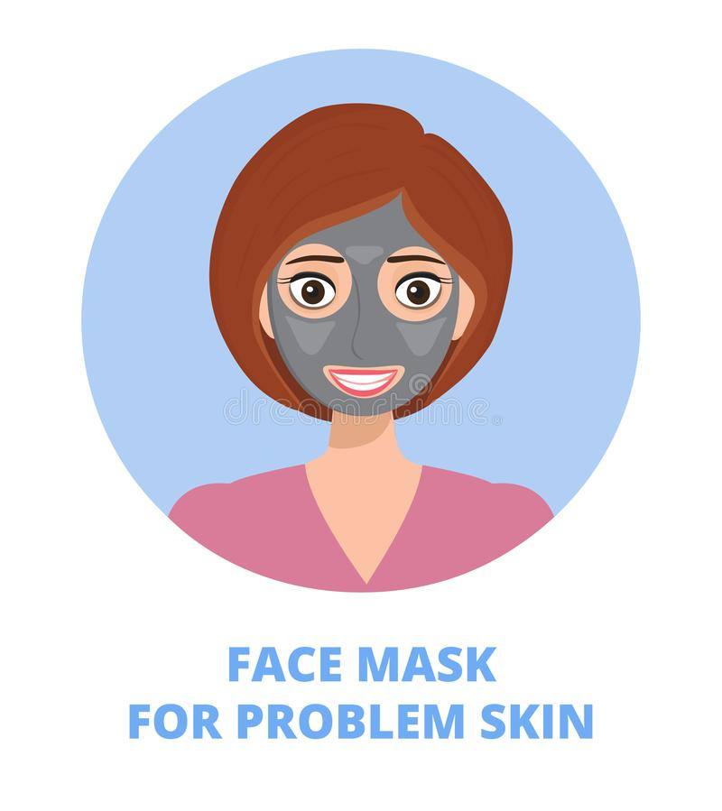 Facial mask for problem skin vector concept. Pretty girl with clay and treatments is shown. It could be used lifting, firming, anti aging, cleaning. It is need vector illustration