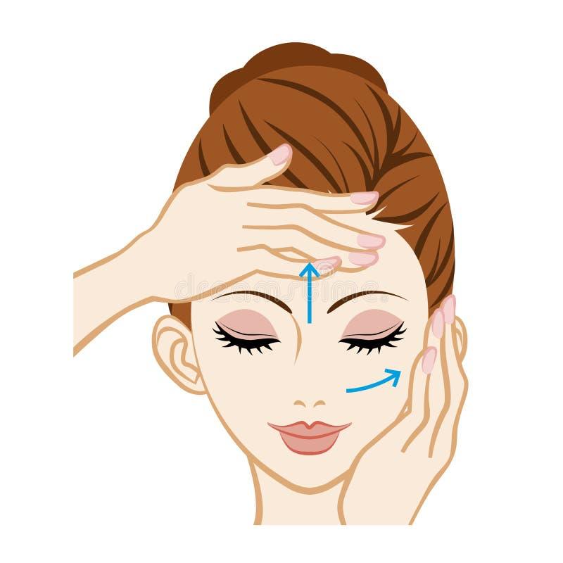 Facial Massage - Facial Skin Care. Image.nVector Illustration royalty free illustration