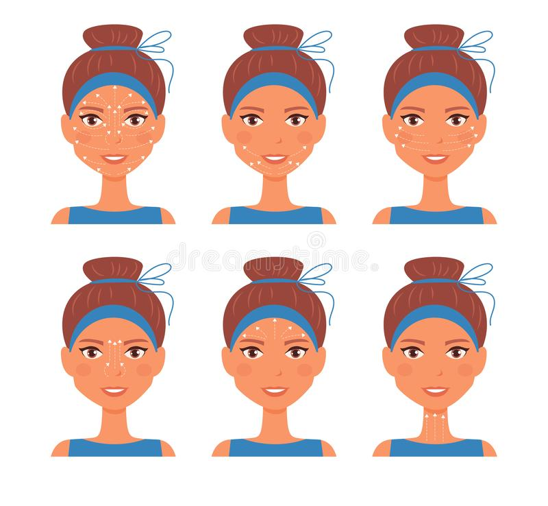 Facial massage. Guide line Vector. Cartoon. Isolated art on white background. Flat royalty free illustration