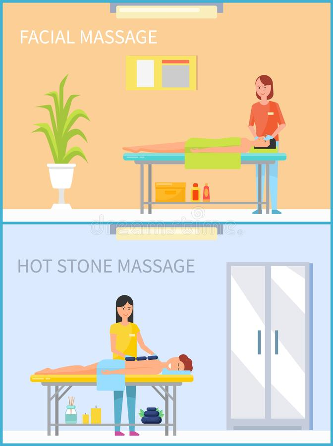 Facial Massage and Hot Stone Treatment Set Vector. Facial massage and hot stone treatment set of people relaxing on table of messages vector. lotions and creams stock illustration