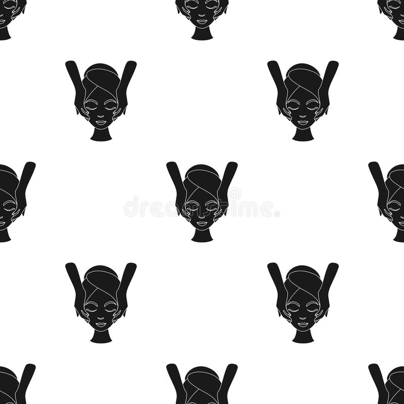 Facial massage icon in black style isolated on white background. Skin care pattern stock vector illustration. Facial massage icon in black style isolated on vector illustration