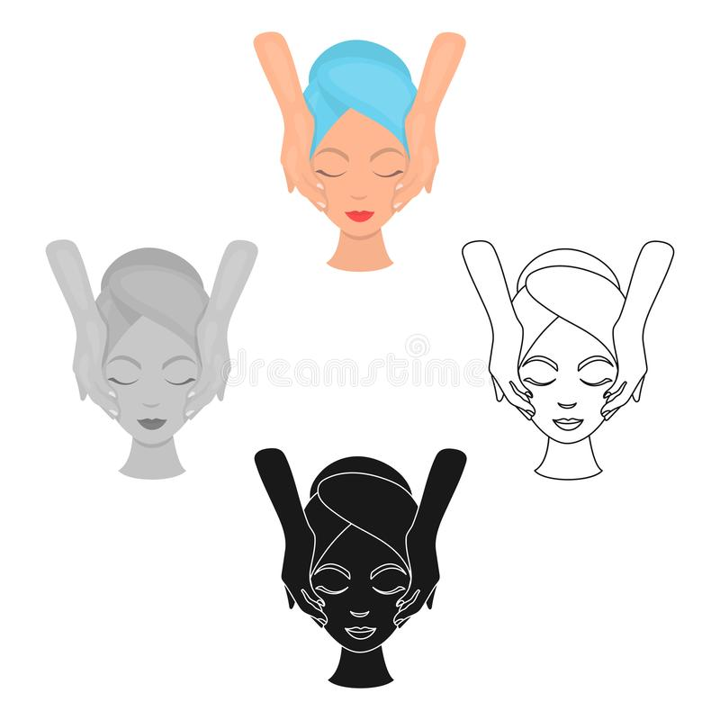 Facial massage icon in cartoon,black style isolated on white background. Skin care symbol stock vector illustration. Facial massage icon in cartoon,black style vector illustration