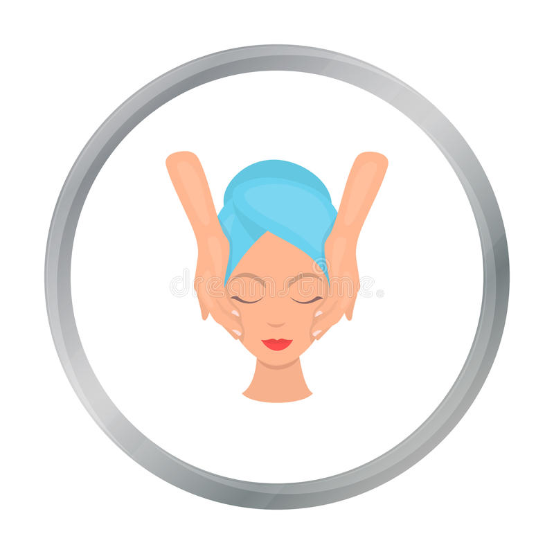 Facial massage icon in cartoon style isolated on white background. Skin care symbol stock vector illustration. Facial massage icon in cartoon style isolated on stock illustration