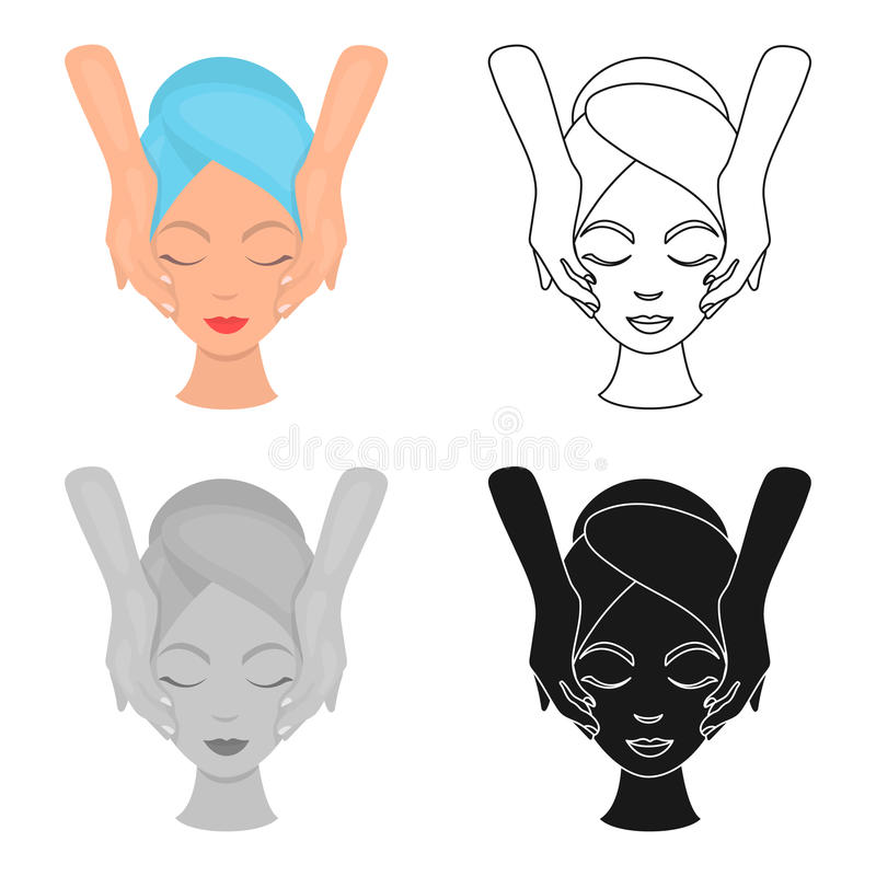 Facial massage icon in cartoon style isolated on white background. Skin care symbol stock vector illustration. Facial massage icon in cartoon style isolated on vector illustration