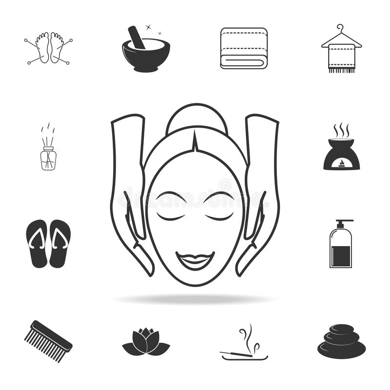 Facial massage icon. Detailed set of SPA icons. Premium quality graphic design. One of the collection icons for websites, web desi. Gn, mobile app on white royalty free illustration