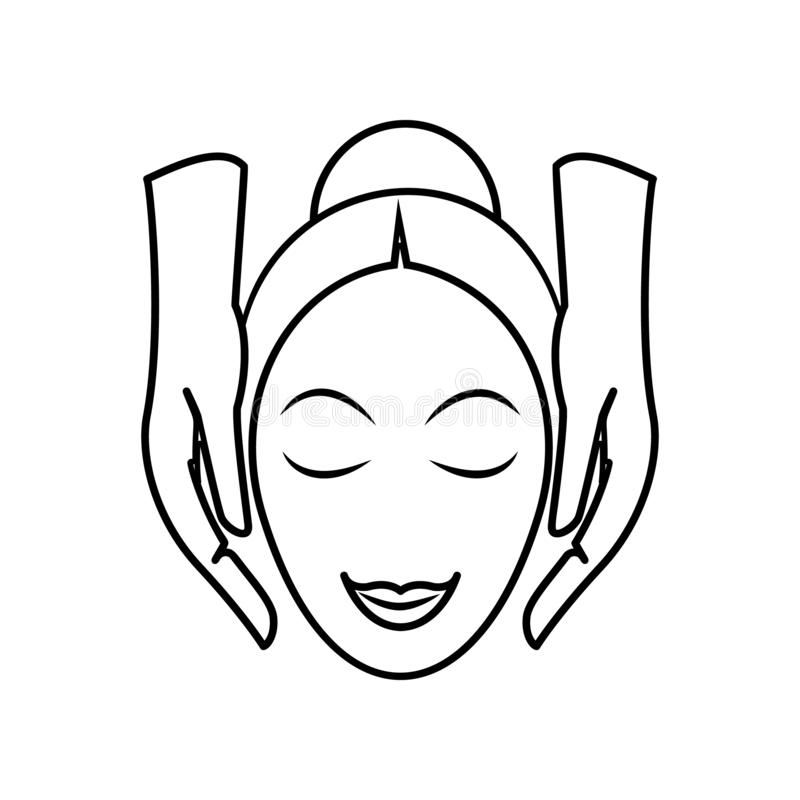 Facial massage icon. Element of Spa for mobile concept and web apps icon. Outline, thin line icon for website design and. Development, app development on white stock illustration