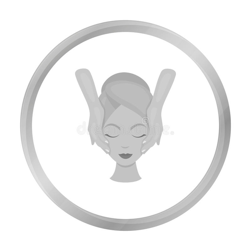 Facial massage icon in monochrome style isolated on white. Skin care symbol. stock illustration