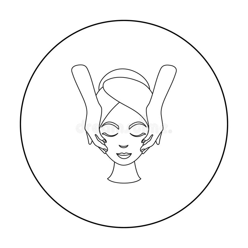 Facial massage icon in outline style isolated on white background. Skin care symbol stock vector illustration. Facial massage icon in outline style isolated on royalty free illustration