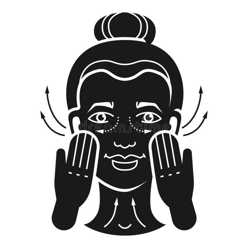 Facial massage icon, simple style. Facial massage icon. Simple illustration of facial massage vector icon for web design isolated on white background royalty free illustration