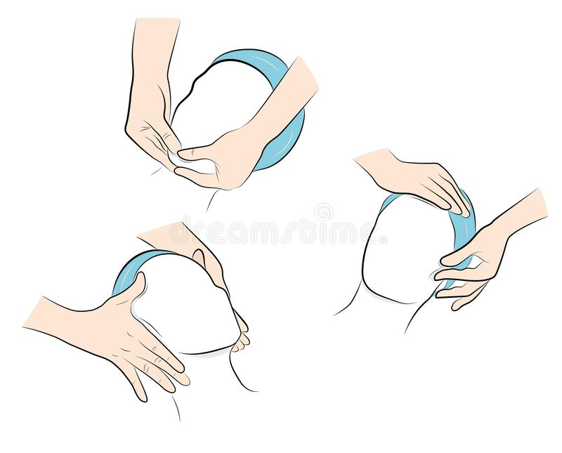 Facial massage. position of the hands during a massage on the face. right hand movements. vector illustration. Facial massage. position of the hands during a stock illustration