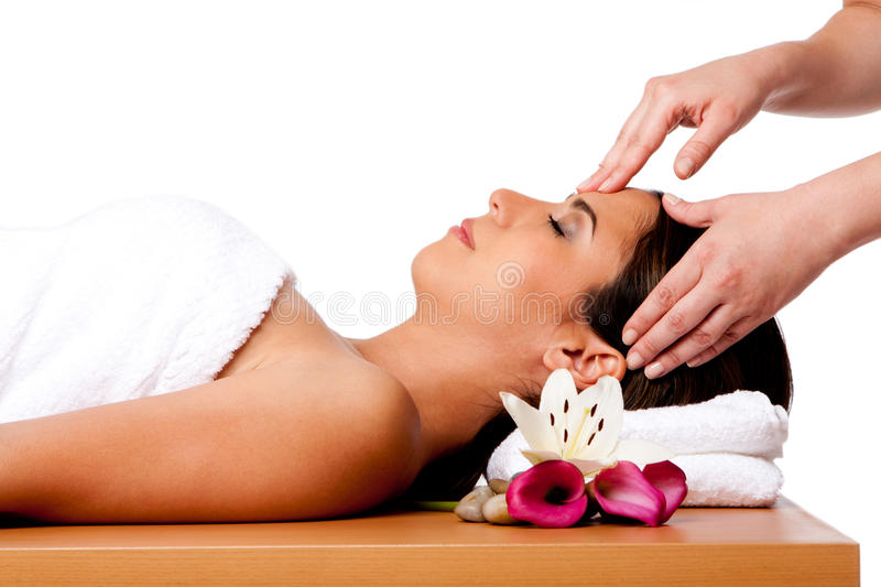 Facial massage in spa stock image