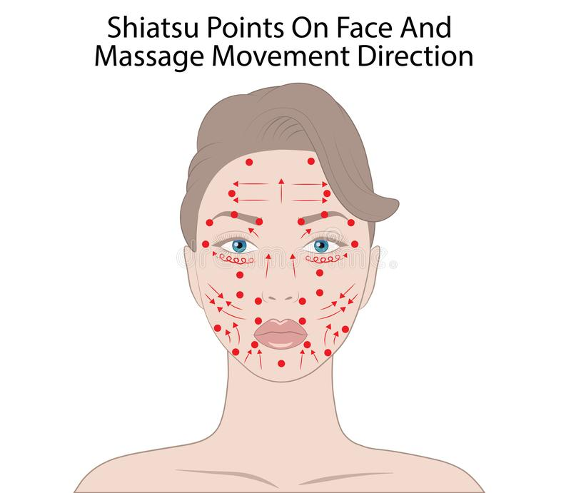 Facial Massage Technique and Shiatsu points, acupuncture Vector Illustration. Isolated on white background royalty free illustration