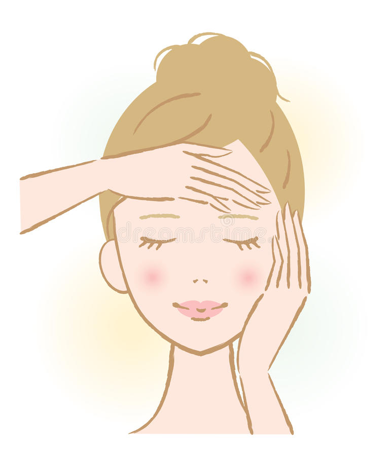 Facial massage woman. Woman touch own face. facial massage royalty free illustration