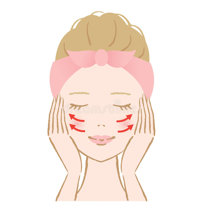 Facial massage woman. Woman touch own face. facial massage vector illustration