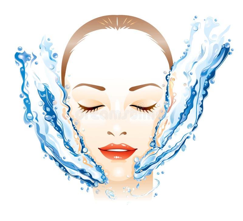 Facial massaging. Young woman receiving facial massage royalty free illustration