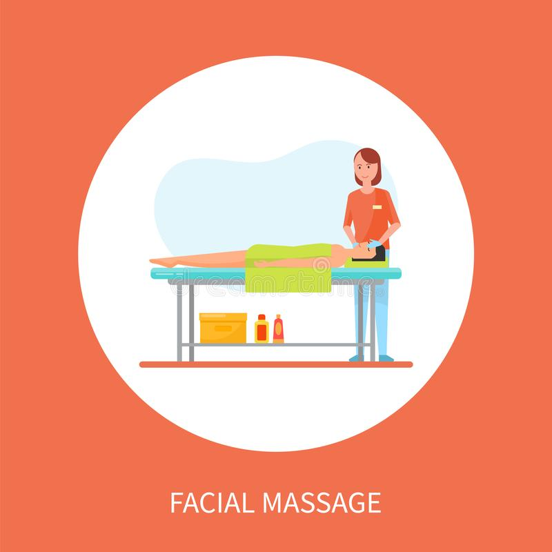 Facial Medical Massage Session Cartoon Banner. Isolated vector in circle. Masseuse in uniform and rubber gloves massaging face of client lying on table vector illustration
