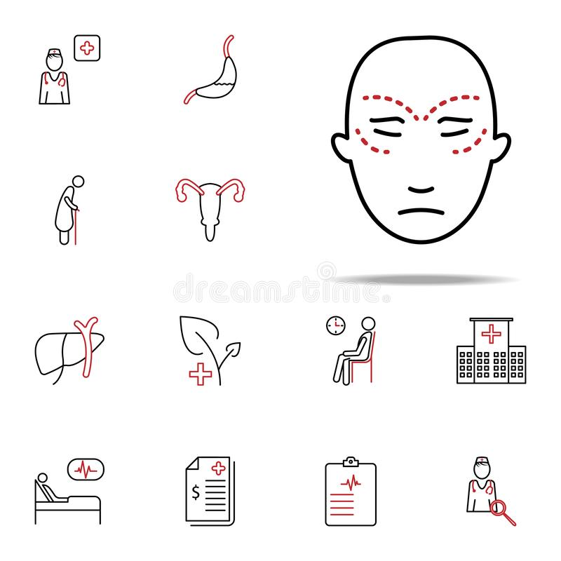 Facial plastic surgery colored line icon. Medical icons universal set for web and mobile. On white background vector illustration