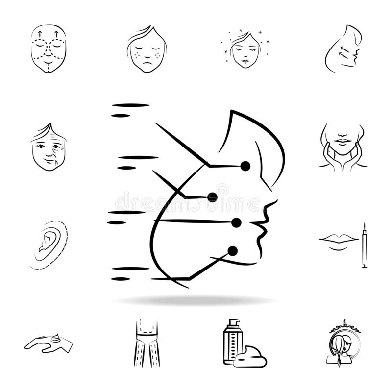 Facial plastic surgery icon. Detailed set of anti-aging procedure icons. Premium graphic design. One of the collection icons for. Websites, web design, mobile stock illustration