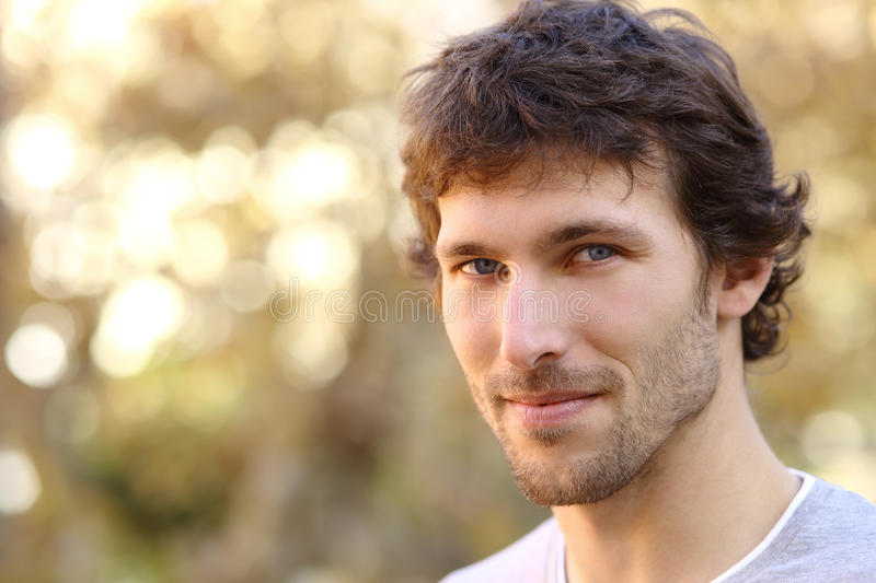 Facial portrait of an attractive adult man stock photo