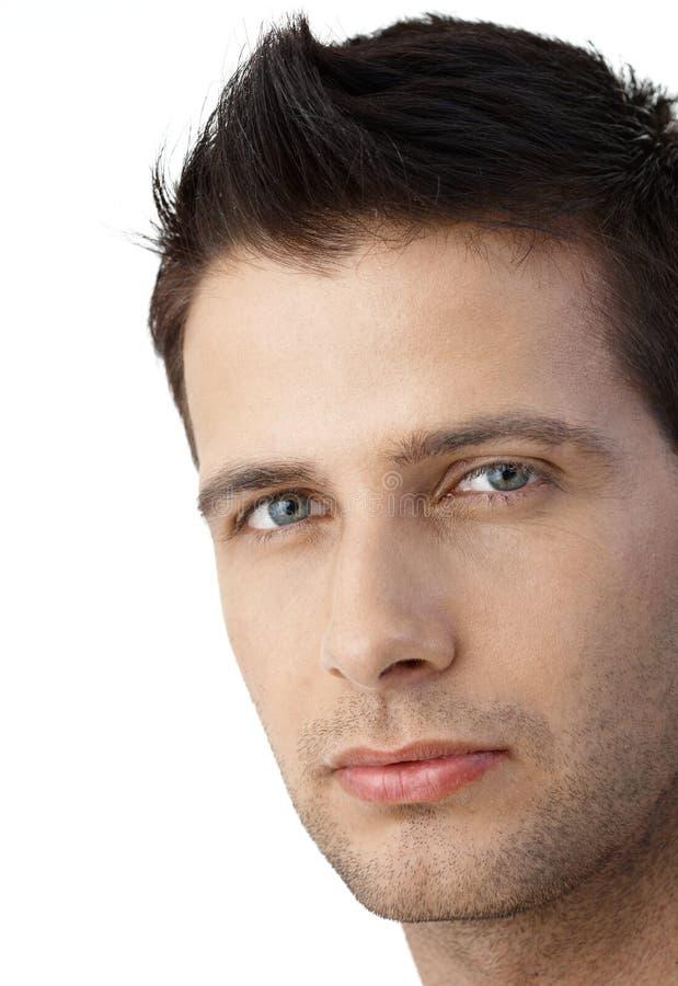 Facial portrait of goodlooking man. Closeup facial portrait of determined goodlooking man looking at camera royalty free stock photo