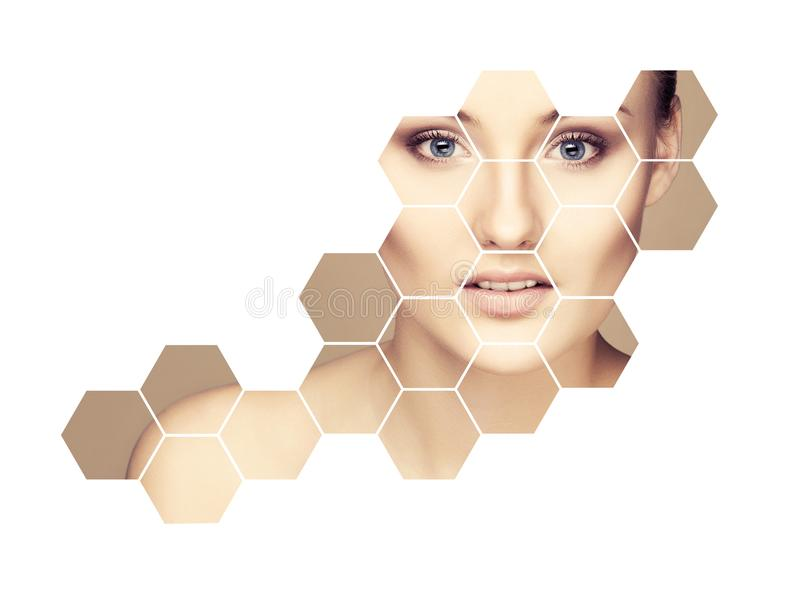 Portrait of young, healthy and beautiful girl plastic surgery, skin lifting, spa, cosmetics and medicine concept. Facial portrait of young and healthy woman royalty free stock photos