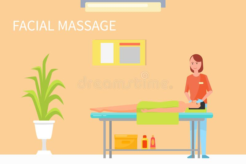Facial Procedures and Massage Technique Vector. Facial procedures and massage technique to relax face and make it look younger and fresh. Masseuse in her salon stock illustration