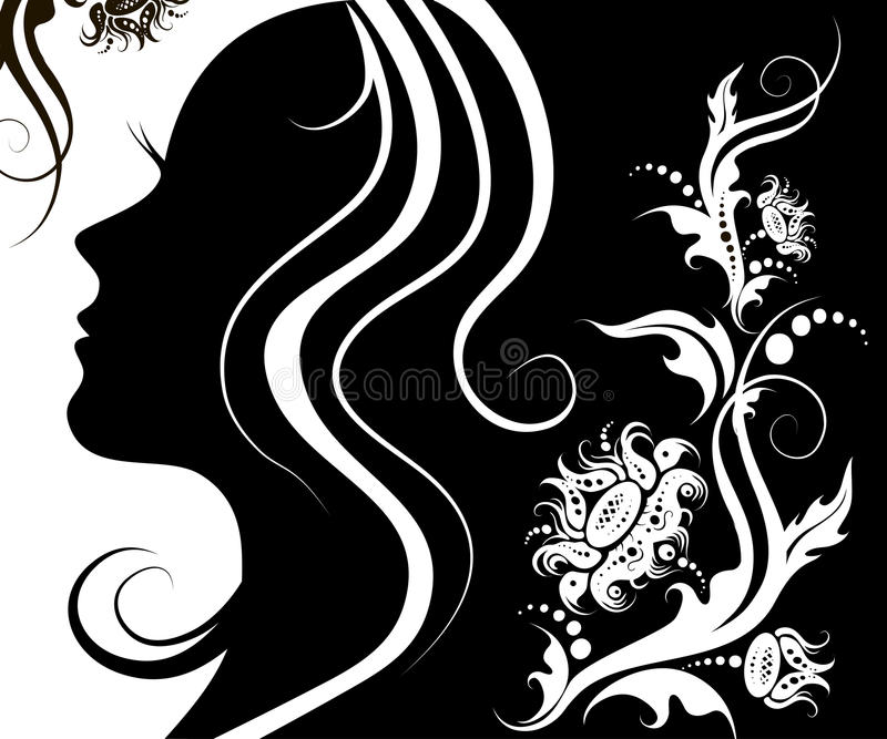 Facial profile of a young woman with a flower pattern. Woman profile beauty illustration