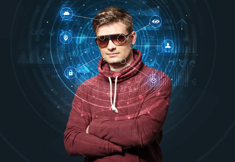 Facial recognition biometric technology stock images