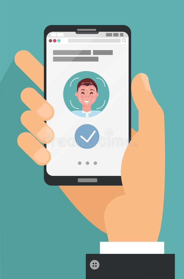 Free Facial Recognition Concept. Face ID, Face Recognition System. Hand Holding Smartphone With Human Head And Scanning App On Screen. Royalty Free Stock Photography - 158174037