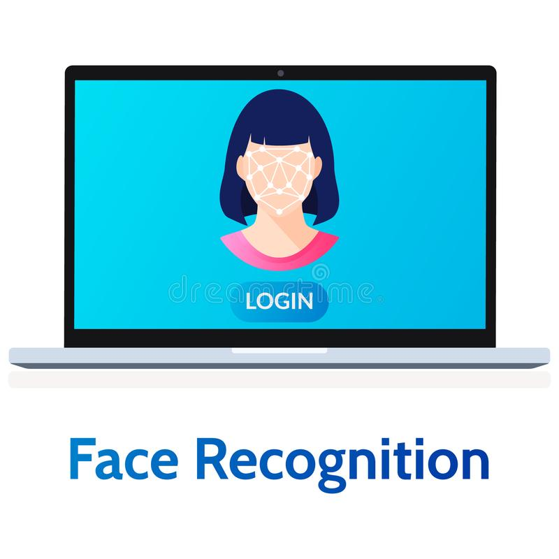 Facial Recognition Laptop System with Woman Face Flat Vector Illustration. Facial recognition system. Biometric scanning female face on laptop, user vector illustration