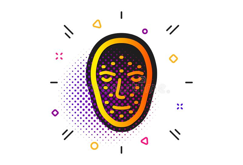 Face biometrics icon. Facial recognition sign. Vector. Facial recognition sign. Halftone circles pattern. Face biometrics icon. Head scanning symbol. Classic stock illustration