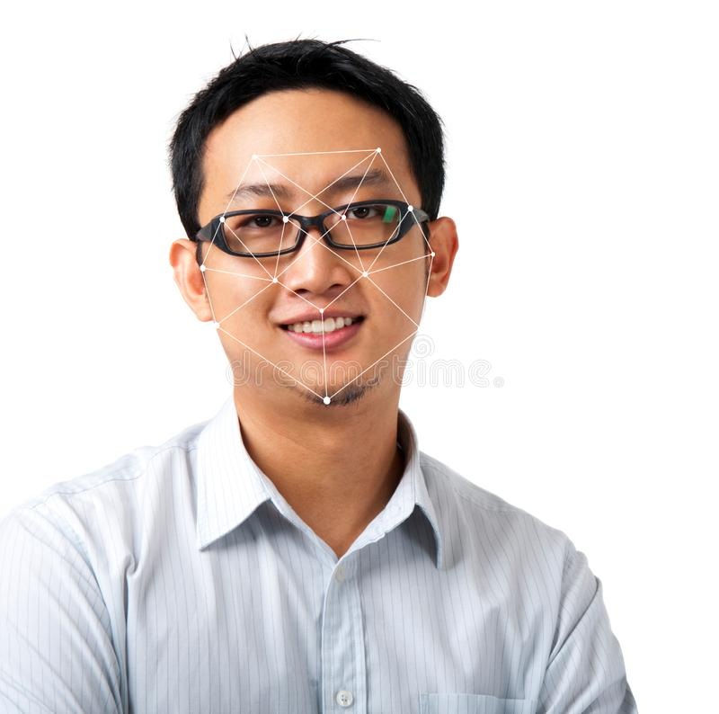 Facial recognition system concept. Asian man face ID scanning royalty free stock photos